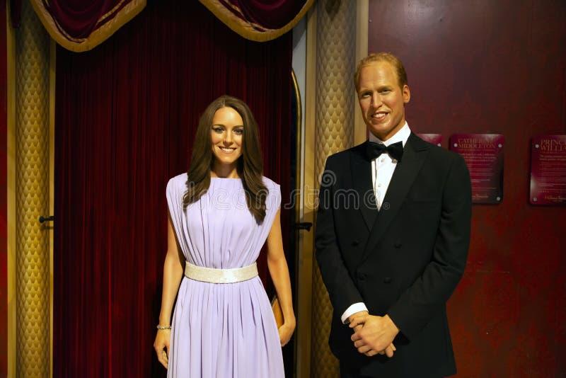 Principe Williams e Kate Middleton in signora Tussauds di Manhattan fotografia stock libera da diritti