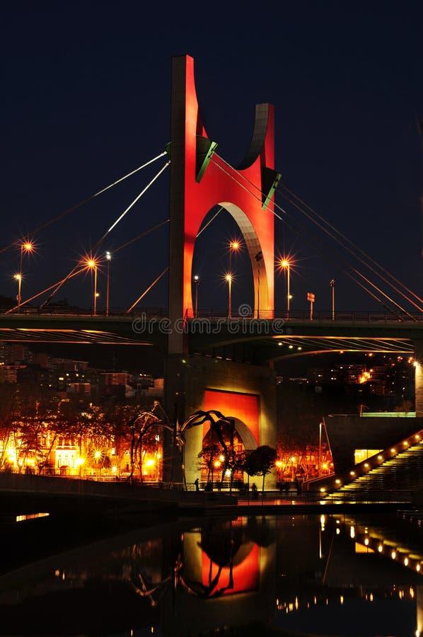 Principes de Espana Bridge am Abend, in Bilbao, Spanien lizenzfreie stockfotos