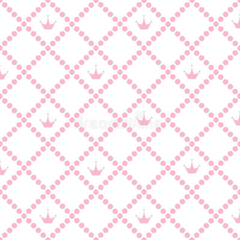 Principessa Background Pattern con il vettore rosa Illustr delle azione della corona illustrazione vettoriale