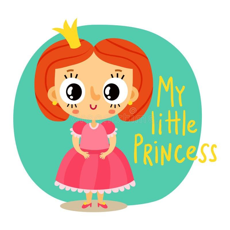 Principessa, bambina in vestito rosa, personaggio dei cartoni animati royalty illustrazione gratis