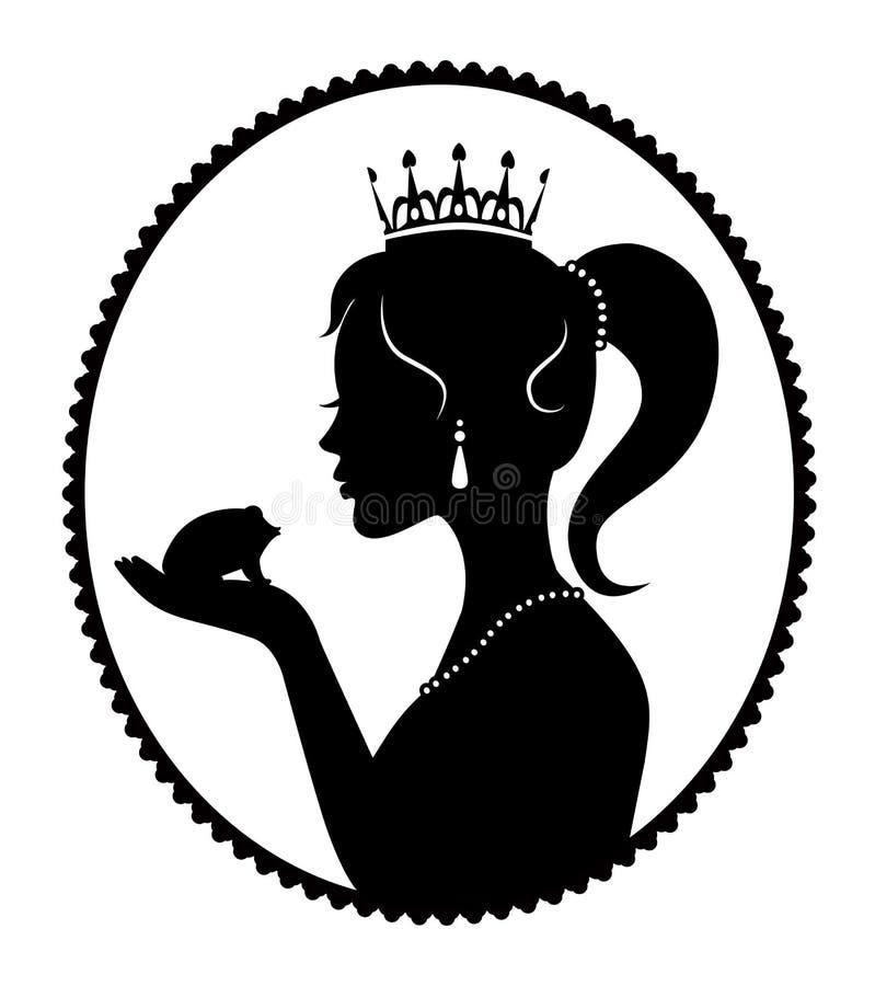 Principessa che bacia una rana illustrazione di stock