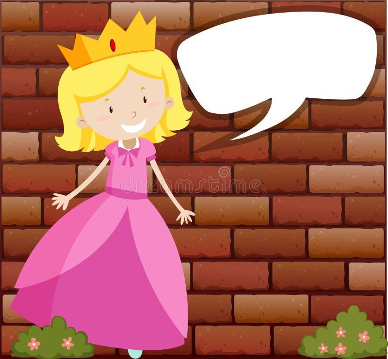 Principessa con il fumetto illustrazione vettoriale