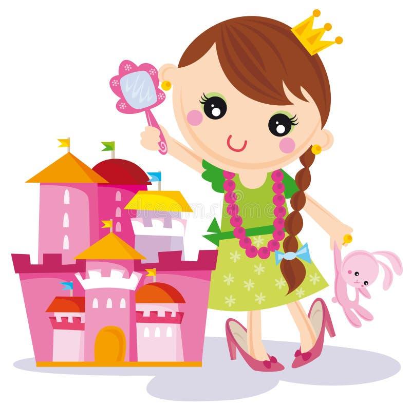 Principessa con il suo castello illustrazione vettoriale