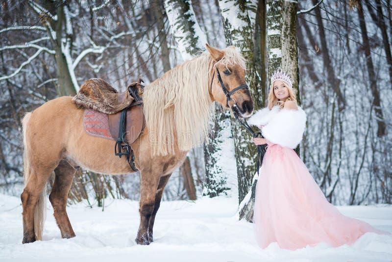 Principessa in corona con il cavallo nell'inverno Ambiti di provenienza astratti di fantasia con il libro magico Fanatsy romantic immagine stock