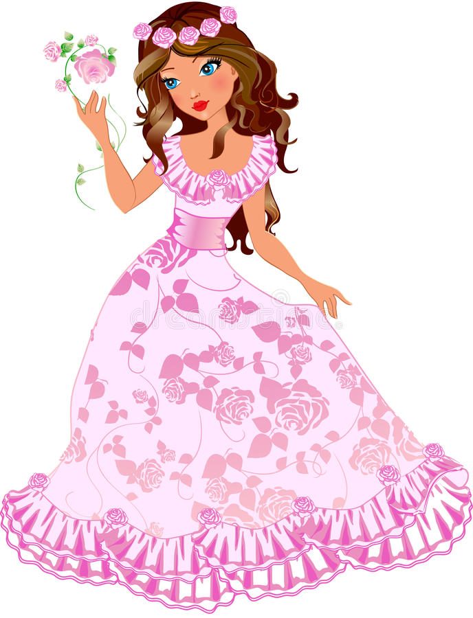 Principessa del Brunette con le rose illustrazione vettoriale