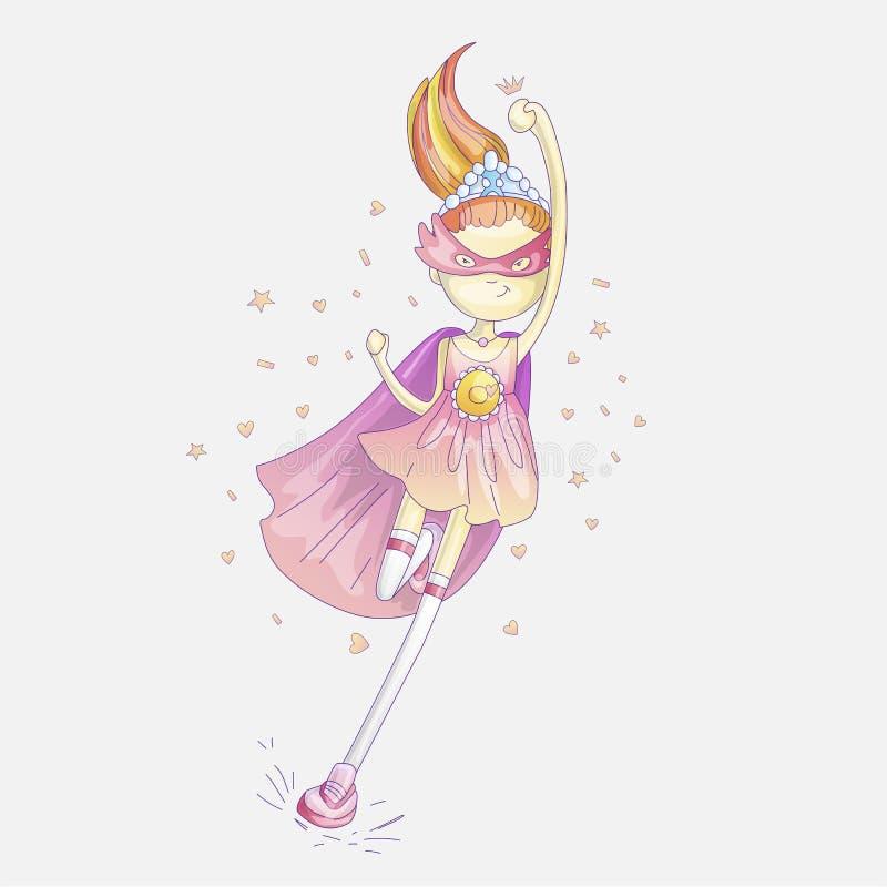 Principessa del supereroe, poca ragazza teenager come illustrazione del fumetto di vettore del supereroe con le pendenze Funziona illustrazione di stock