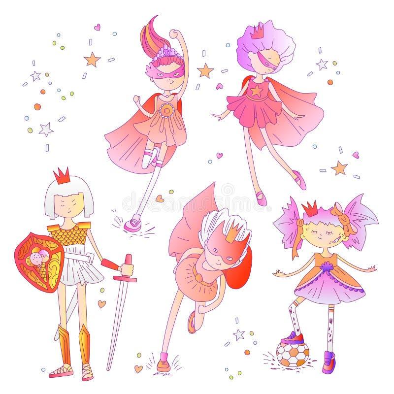 Principessa del supereroe, poca ragazza teenager come illustrazione del fumetto di vettore del supereroe con le pendenze Funziona royalty illustrazione gratis