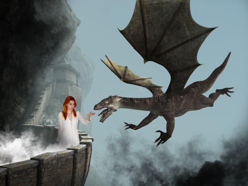 Principessa di fantasia, castello, drago diabolico immagini stock
