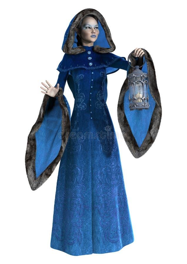 principessa di inverno della rappresentazione 3D su bianco illustrazione di stock