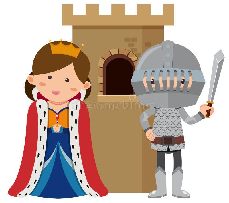 Principessa e cavaliere al castello royalty illustrazione gratis