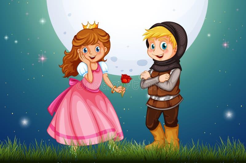 Principessa e cavaliere nel campo illustrazione vettoriale