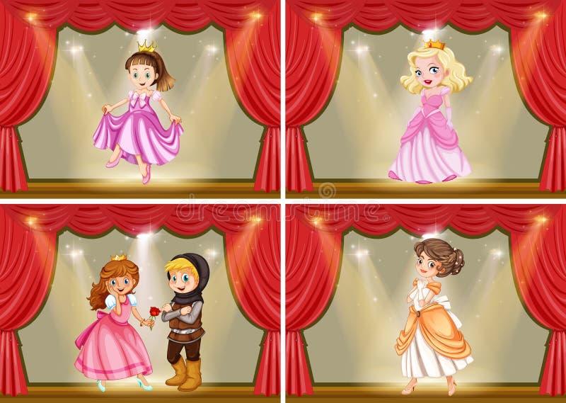 Principessa e cavaliere sul gioco della fase illustrazione vettoriale