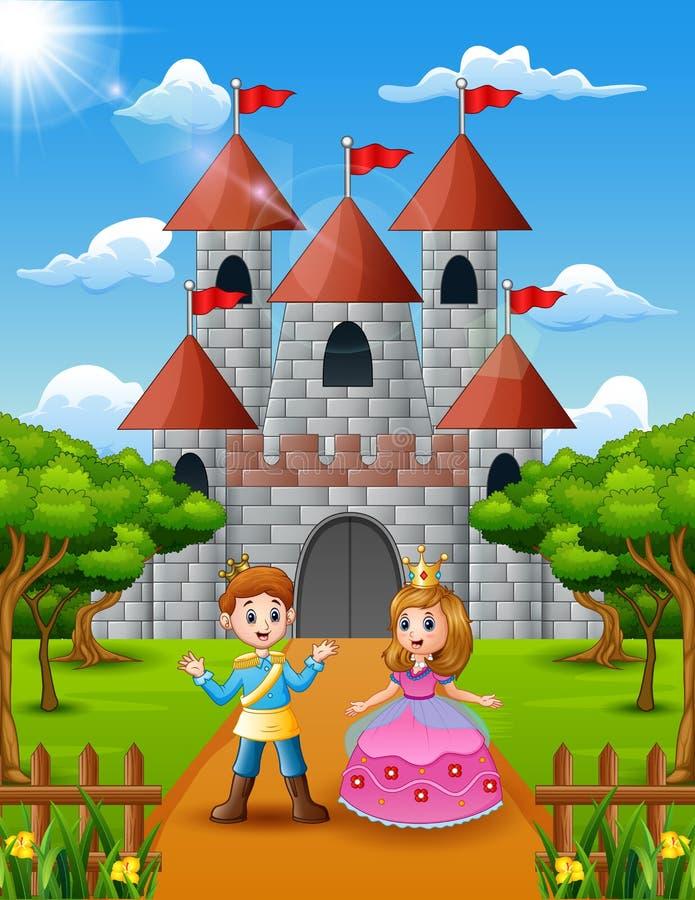 Principessa e principe delle coppie che stanno davanti al castello illustrazione vettoriale