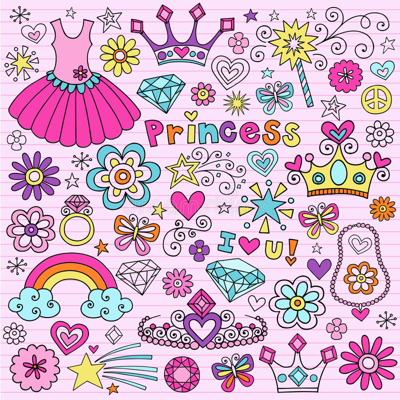 Principessa Groovy Notebook Doodles illustrazione vettoriale