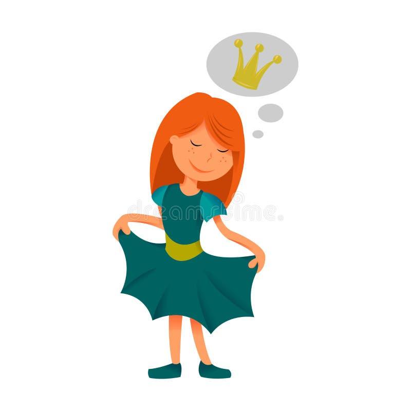 Principessa Illustrazione di bella ragazza che sogna dell'essere una principessa Illustrazione di vettore immagine stock libera da diritti