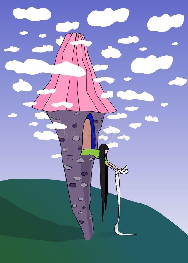 Principessa lunga dei capelli in torre magica che giudica lista di obiettivi molto lunga caricatura sveglia e divertente illustrazione di stock