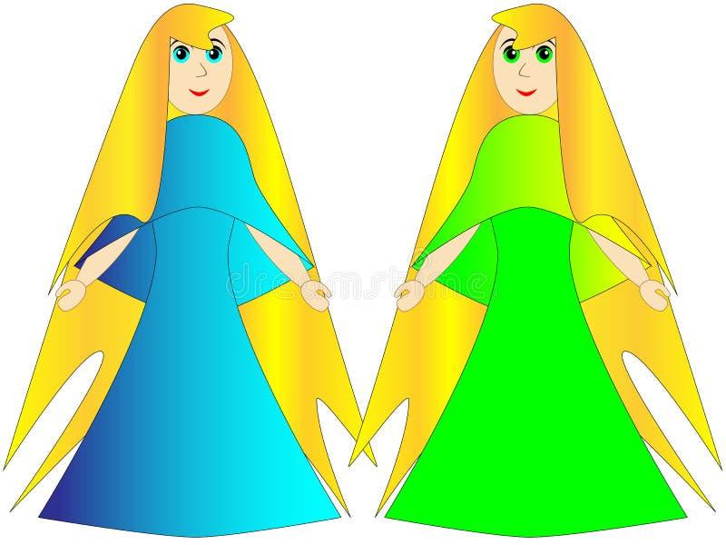 Principessa o un fatato in un vestito blu e verde immagine stock