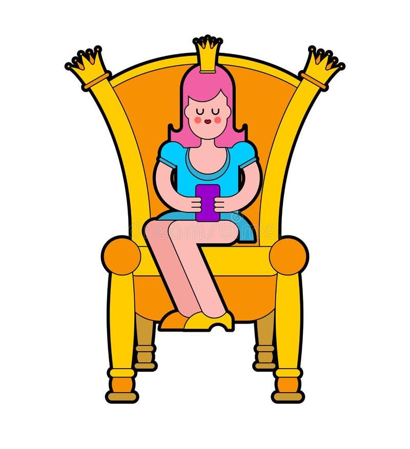 Principessa sul trono Sedia reale Illustrazione di vettore illustrazione vettoriale