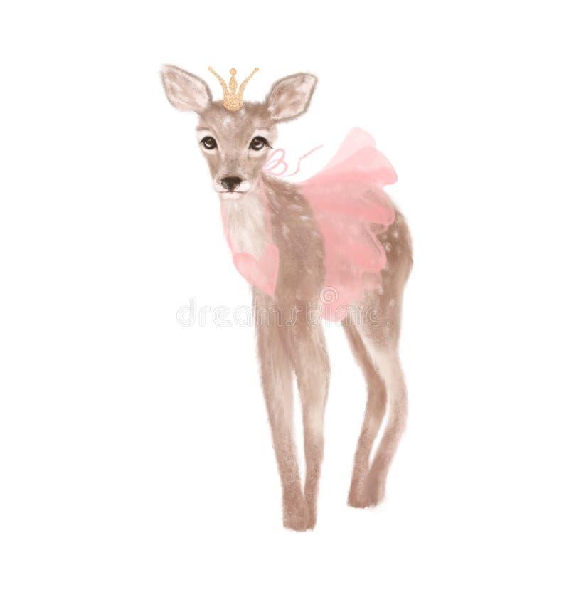 Principessa sveglia dei cervi con la corona su fondo bianco isolato royalty illustrazione gratis