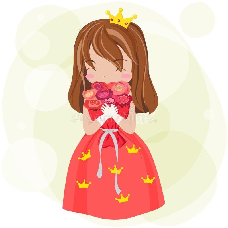 Principessa sveglia del fumetto con il vestito e la corona rossi è mostrare felice illustrazione di stock