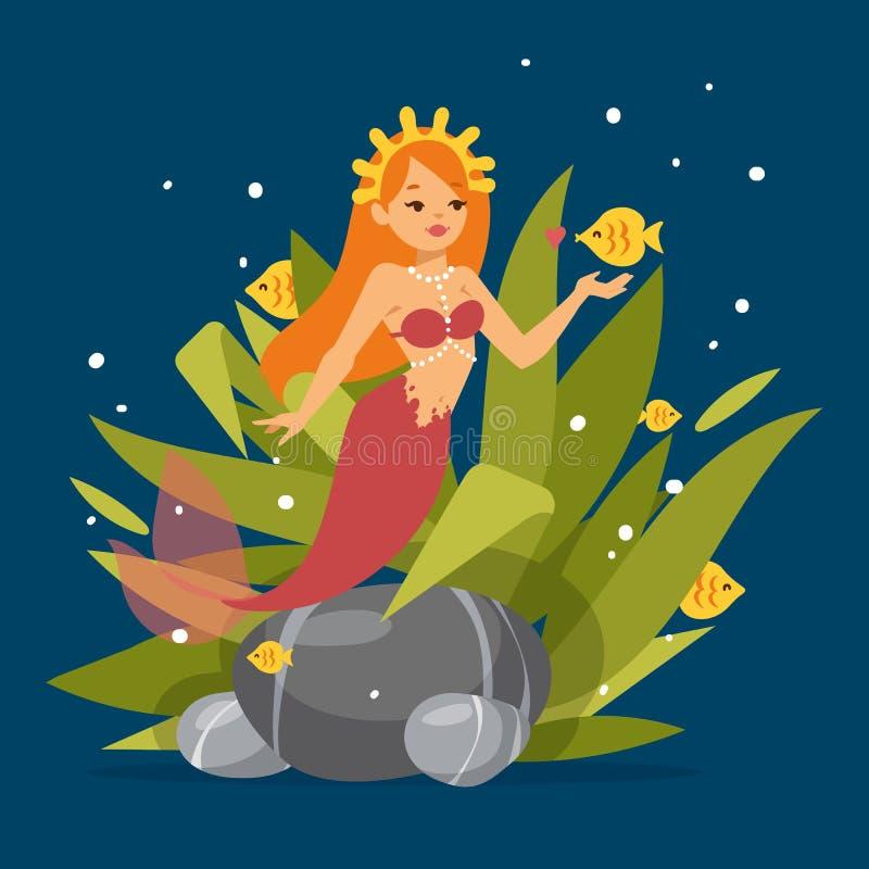 Principessa sveglia della sirena con capelli rossi ed altra nell'ambito degli elementi del mare quali il pesce, l'alga, le pietre illustrazione di stock