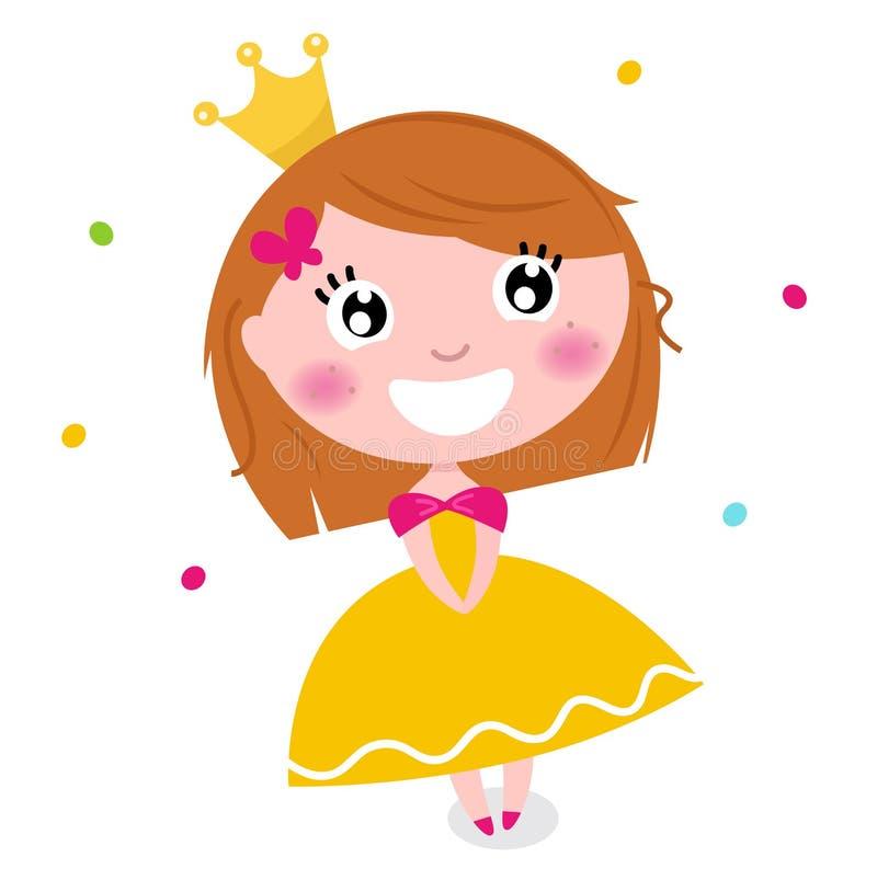 Principessa sveglia in vestito giallo isolato su bianco illustrazione di stock