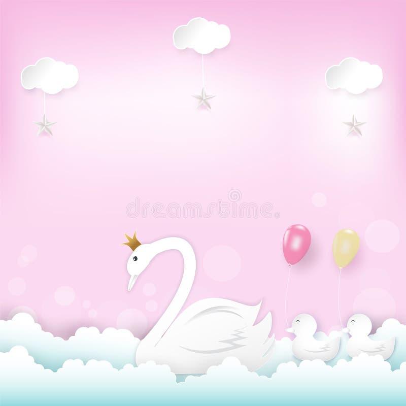 Principessa Swan del ` s della famiglia con il galleggiamento e la nuvola dei palloni illustrazione di stock