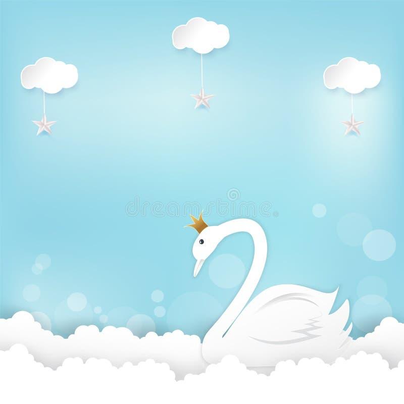 Principessa Swan e compleanno della nuvola buon, arte della carta della carta della doccia, p illustrazione vettoriale