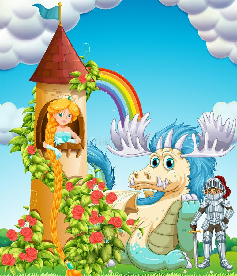Principessa in torre con il cavaliere ed il drago royalty illustrazione gratis