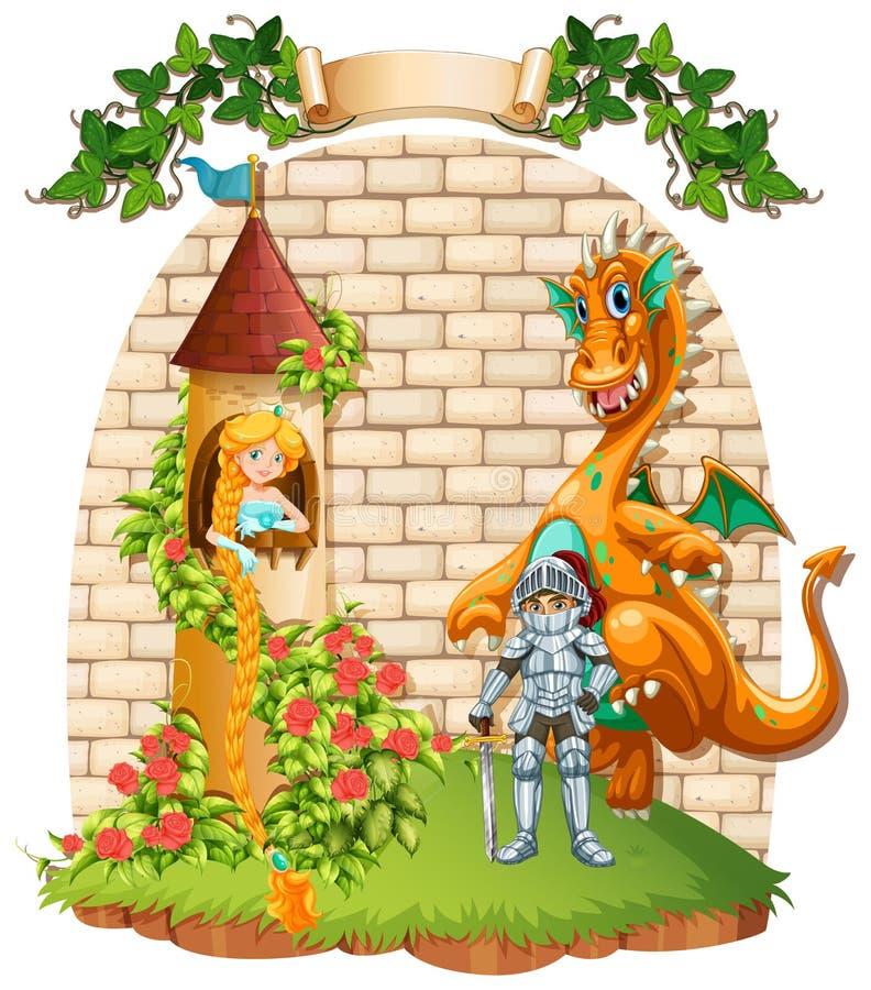 Principessa in torre e cavaliere con l'animale domestico del drago royalty illustrazione gratis