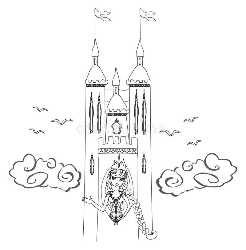 Principessa in un'alta torre illustrazione di stock