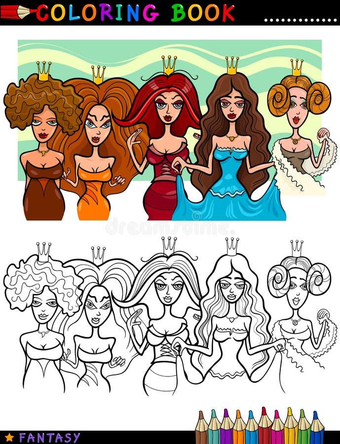 Principesse o regine di fantasia per coloritura illustrazione di stock