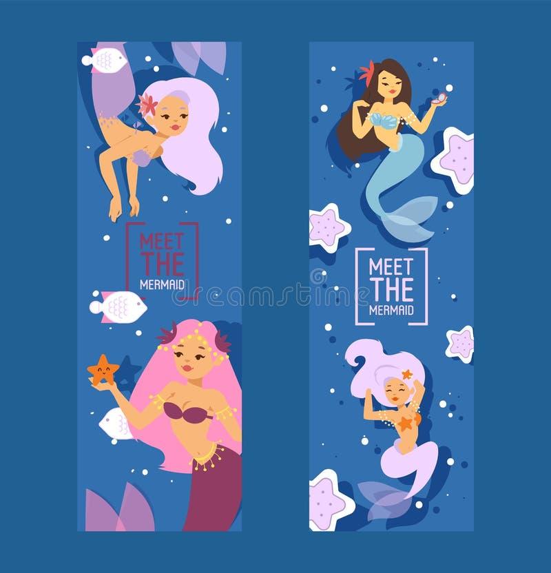 Principesse sveglie della sirena con capelli variopinti ed altra nell'ambito degli elementi del mare quali le stelle marine, il p illustrazione di stock