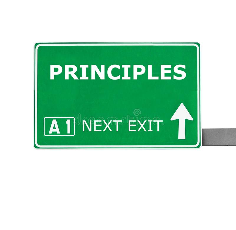 PRINCIPESverkeersteken op wit worden geïsoleerd dat stock afbeelding