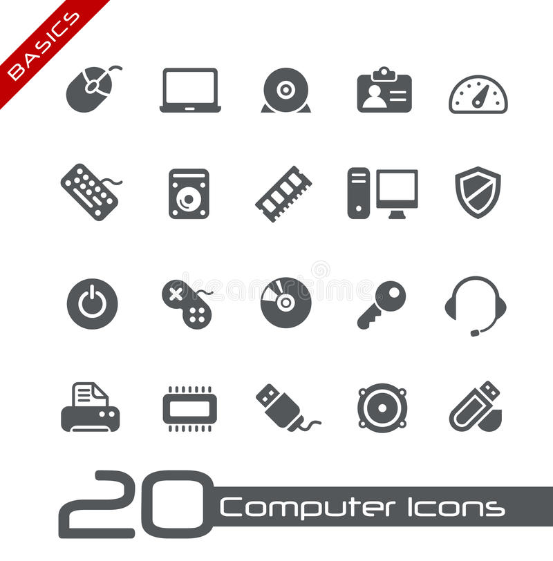 Principi fondamentali di // delle icone del calcolatore illustrazione di stock