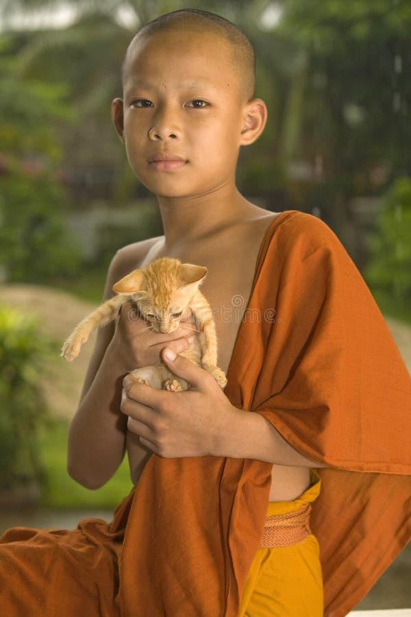 Principiante budista en Laos imagen de archivo libre de regalías