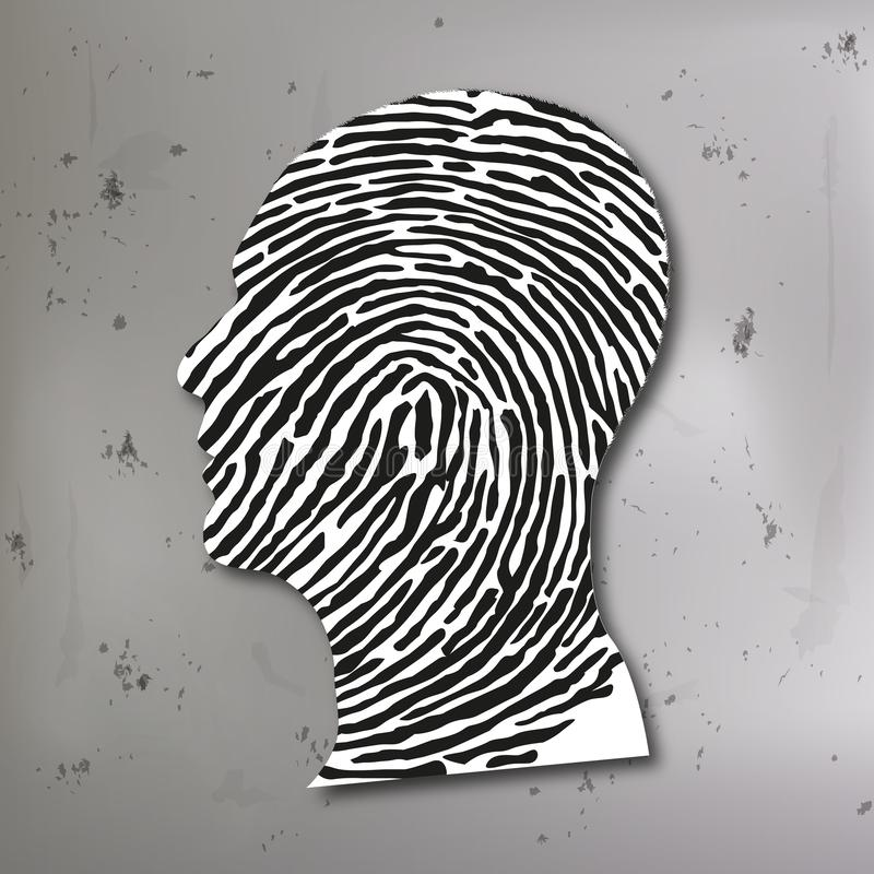Principio dell'indagine penale che associa un'impronta digitale con il profilo dell'uccisore illustrazione vettoriale