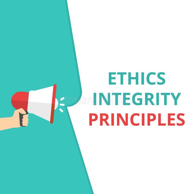 Principios de la integridad de los éticas del texto de la escritura de la palabra stock de ilustración