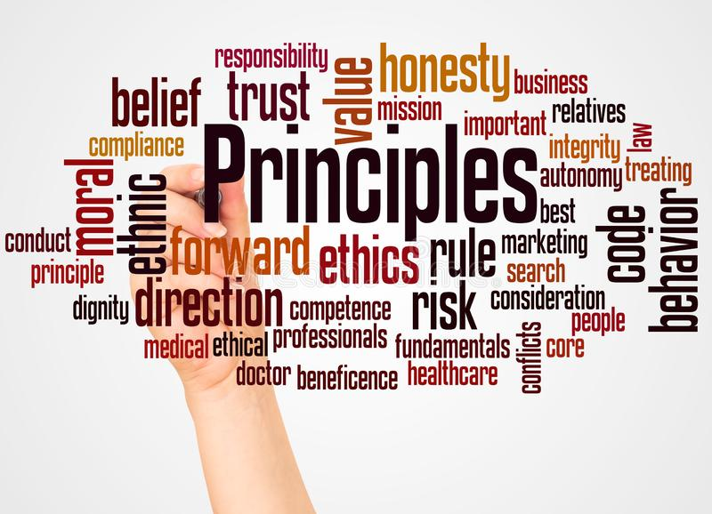 Principles word cloud and hand with marker concept royalty free stock images