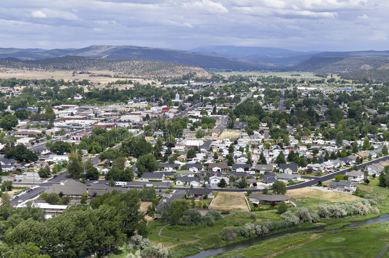 Prineville, Oregon from a knoll to the west stock photo