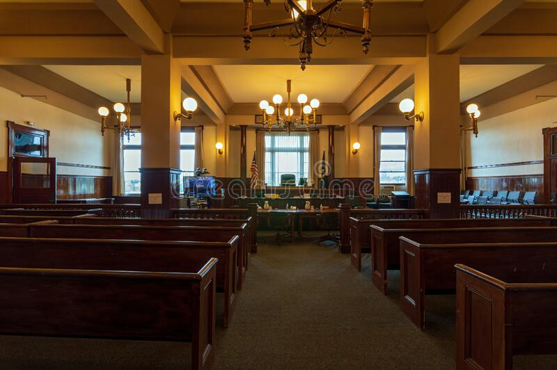 A Courtroom in the Crook County Courthouse, Prineville, Oregon, USA. Prineville, Oregon - May 15, 2015: A Courtroom in the Crook County Courthouse royalty free stock photo