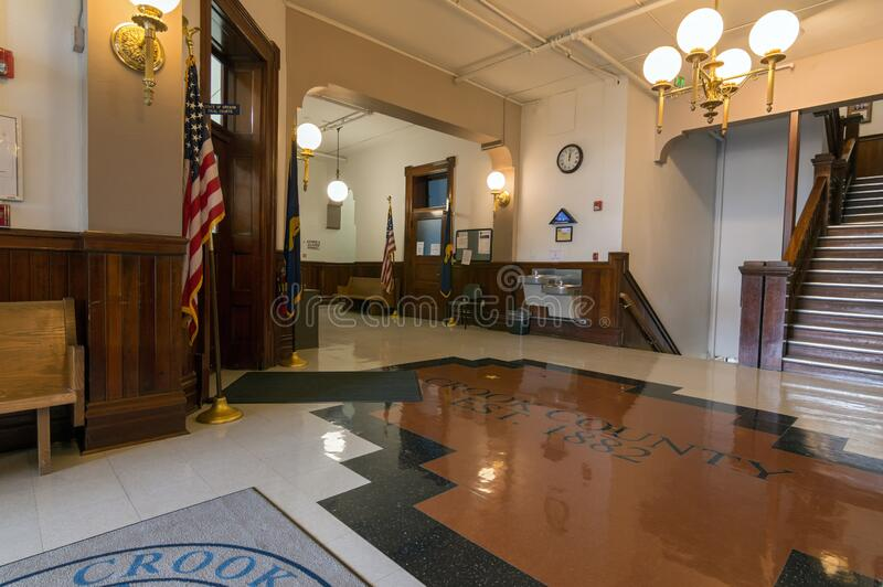The Lobby on the Main Floor of the Crook County Courthouse, Prineville, Oregon, USA. Prineville, Oregon - May 15, 2015: The Lobby on the Main Floor of the Crook royalty free stock image
