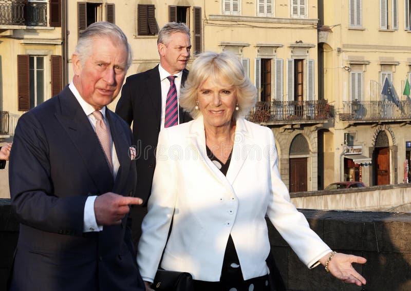 Prins Charles av England och hans fru Camilla Parker Bowles, hertiginna av Cornwall royaltyfri fotografi