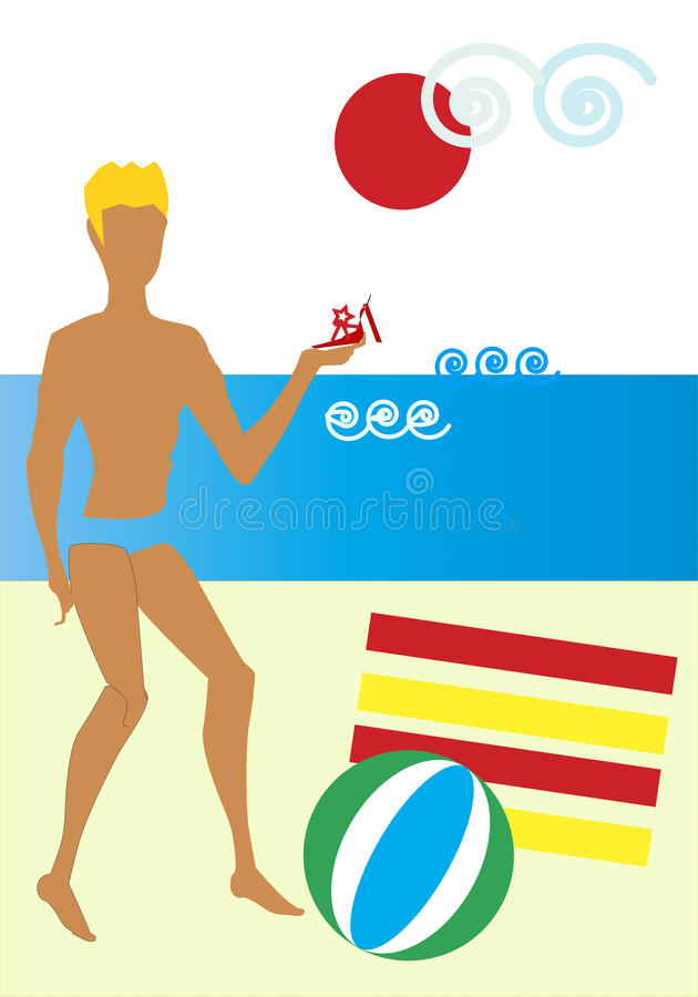 Prins Charming på stranden vektor illustrationer