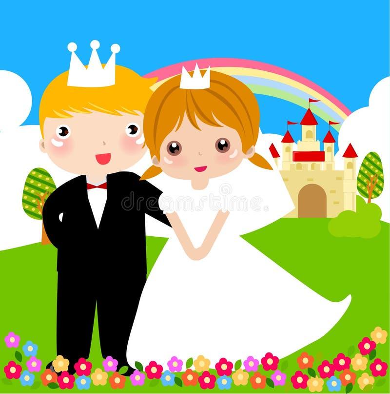 Prins en prinses stock illustratie