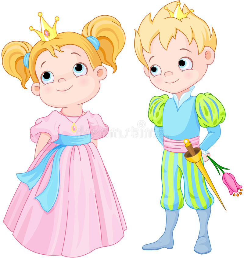Prins en prinses stock illustratie
