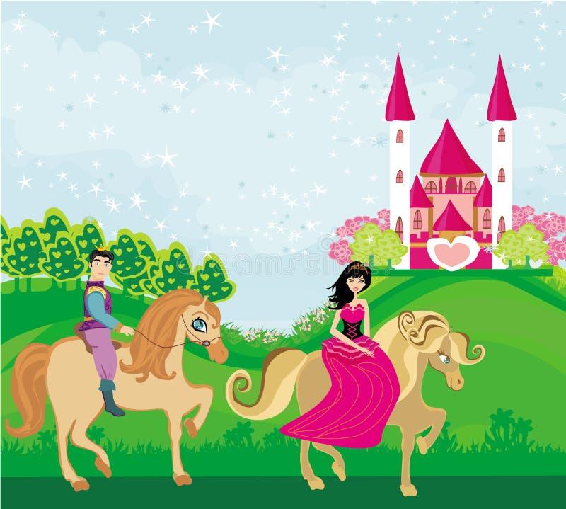 Prins en prinses op hun paarden royalty-vrije illustratie