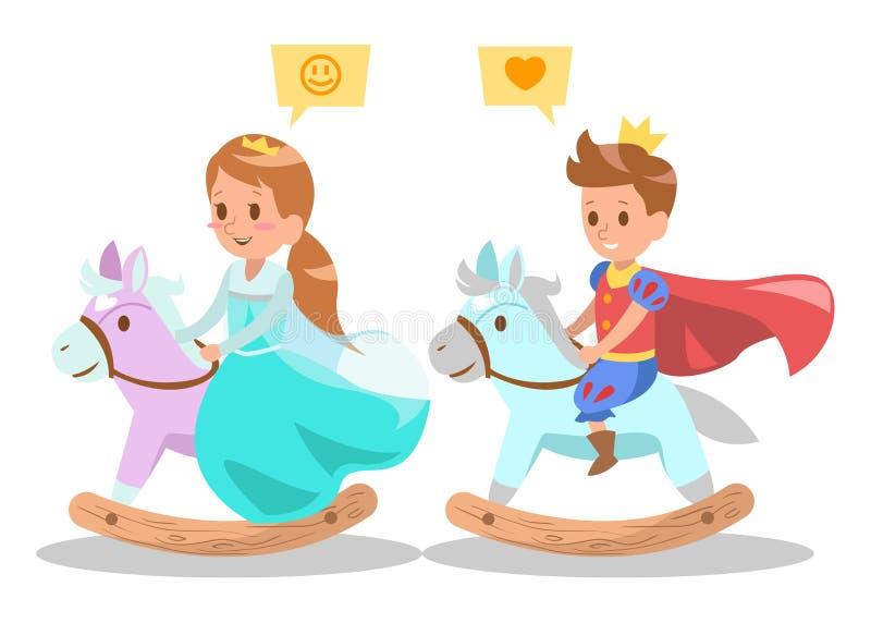 Prins för prinsessateckendesign 4little och prinsessaridning på trävagga häst royaltyfri illustrationer
