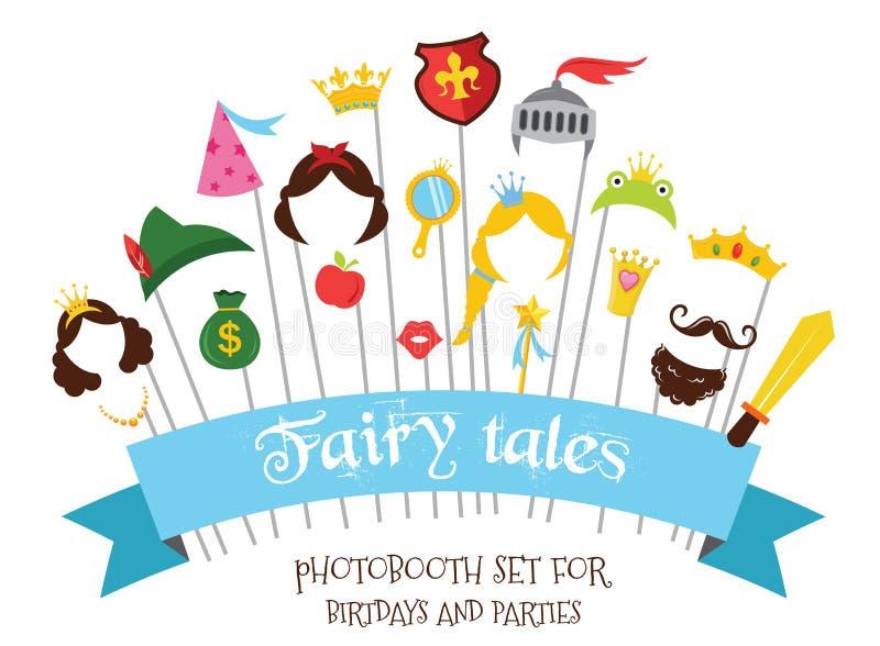 Prins- och för prinsessa Party uppsättning - photoboothstöttor - mustascher, peruker och objekt - vektor royaltyfri illustrationer