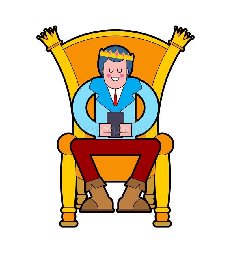 Prins op troon Jonge Koning op Koninklijke stoel Vector illustratie stock illustratie